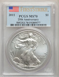 Modern Bullion Coins, 2011 $1 Silver Eagle, First Strike MS70 PCGS. PCGS Population: (38385). NGC Census: (53710). MS70. ...