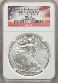 2012(-S) $1 Silver Eagle, Early Releases, Struck at San Francisco MS70 NGC. NGC Census: (23081). PCGS Population: (22428...