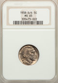 1938-D/S 5C Buffalo MS65 NGC. NGC Census: (736/1048). PCGS Population: (1952/2094). CDN: $100 Whsle. Bid for problem-fre...