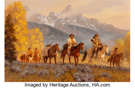 Gary L. Kapp (American, b. 1942) Trappers Below the Tetons, 1979 Oil on Masonite 23-1/4 x 35-1/4 inches (59.1 x 89.5 ...