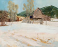 Paintings:20th Century, Mel Fillerup (American, 1924-2010). Barn in the Thaw. Oil on canvas. 19-1/4 x 24 inches (48.9 x 61.0 cm). Signed lower r...