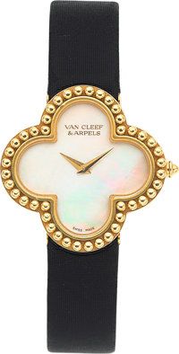 Van Cleef & Arpels Lady's Mother-of-Pearl, Gold Alhambra Watch