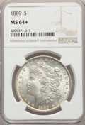Morgan Dollars, 1889 $1 MS64+ NGC. NGC Census: (17898/2452). PCGS Population: (13099/2827). MS64. Mintage 21,726,812....