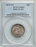 1875-S/S 20C Misplaced Date, FS-302, BF-16, R.1, MS62 PCGS. PCGS Population: (3/5). NGC Census: (0/0). MS62. From The...