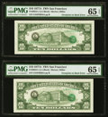 Error Notes:Third Printing on Reverse, Fr. 2024-L $10 1977A Federal Reserve Notes. Two Consecutive Examples. PMG Gem Uncirculated 65 EPQ.. ... (Total: 2 notes)