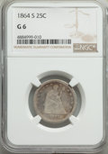 Seated Quarters: , 1864-S 25C Good 6 NGC. NGC Census: (2/34). PCGS Population: (9/77). CDN: $875 Whsle. Bid for problem-free NGC/PCGS Good 6 ....