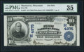 National Bank Notes:Wisconsin, Manitowoc, WI - $10 1902 Plain Back Fr. 631 First NB Ch. # (M)4975 PMG Choice Very Fine 35.. ...