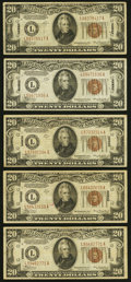 Small Size:World War II Emergency Notes, Fr. 2304 $20 1934 Mule Hawaii Federal Reserve Note. Very Fine;. Fr. 2305 $20 1934A Hawaii Federal Reserve Notes. Four Exam... (Total: 5 notes)