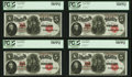 Fr. 91 $5 1907 Legal Tenders Cut Sheet of Four PCGS Choice About New 58PPQ