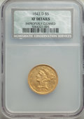 Liberty Half Eagles, 1843-D $5 Medium D -- Improperly Cleaned -- NCS. XF Details. NGC Census: (30/157). PCGS Population: (38/137). CDN: $1,825 W...