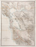 Books:Maps & Atlases, [Maps]. Map of the Region Adjacent to the Bay of San Francisco. New York: 1873. Large lithographed map with orig...