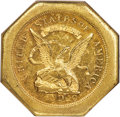 Territorial Gold , 1851 $50 LE Humbert Fifty Dollar, Lettered Edge, 887 Thous., 50 Reverse -- Reverse Rim Filed -- NGC Details. AU. K-4, R.5....