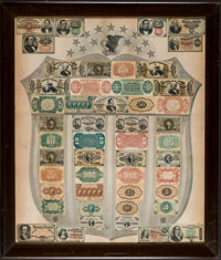 Fractional Currency Shield with Gray Background