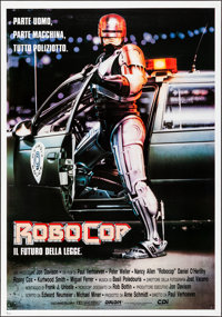 "RoboCop (Orion, 1987). Rolled, Very Fine-. Italian Foglio (27.5"" X 39.5""). Mike Bryan Artwork. Action"