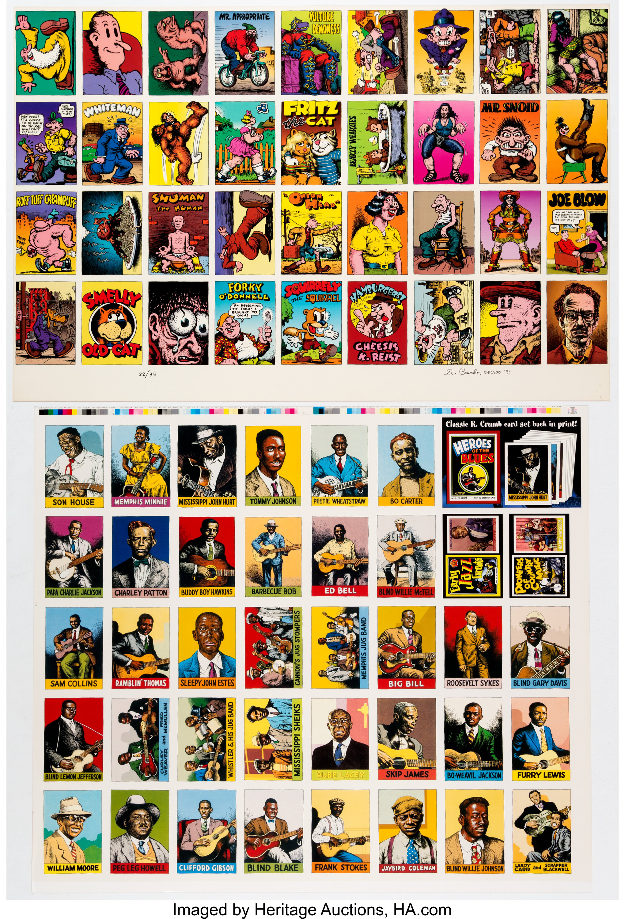 Robert Crumb Uncut Trading Card Sheets Group Of 4 Kitchen Sink