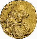 Ancients:Byzantine, Ancients: Justinian II, first reign (AD 685-695). AV solidus (18mm, 4.27 gm, 7h). NGC AU 3/5 - 3/5, clipped. ...