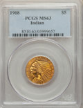 Indian Half Eagles, 1908 $5 MS63 PCGS. PCGS Population: (1283/1064). NGC Census: (1059/852). MS63. Mintage 577,800. ...