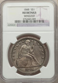 Seated Dollars: , 1848 $1 -- Whizzed -- NGC Details. AU. NGC Census: (7/55). PCGS Population: (35/96). CDN: $1,800 Whsle. Bid for problem-fre...