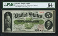 Large Size:Legal Tender Notes, Fr. 61c $5 1862 Legal Tender PMG Choice Uncirculated 64 EPQ.. ...