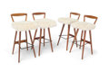 Furniture , Danish School. Four Bar Stools, late 20th century. Wood and sheepskin. 25-3/4 x 16 x 18 inches (65.4 x 40.6 x 45.7 cm) (... (Total: 4 Items)