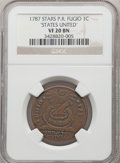 Colonials, 1787 FUGIO Fugio Cent, STATES UNITED, Eight-Pointed Stars, VF20 NGC. NGC Census: (6/24). PCGS Population: (10/94). . F...
