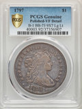 Early Dollars, 1797 $1 9x7 Stars, Large Letters, B-1, BB-73, R.3 -- Polished -- PCGS Genuine. VF Details....