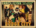 """Movie Posters:Western, Dodge City (Warner Brothers, 1939). Fine/Very Fine. Linen Finish Lobby Card (11"""" X 14""""). Western.. ..."""