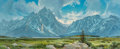 Paintings, Jim Wilcox (American, b. 1941). The Grand Tetons. Oil on Masonite. 33-1/2 x 81 inches (85.1 x 205.7 cm). Signed lower le...