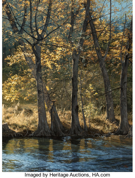 Mark Weber (American, b. 1949) Guadalupe River, 1984 Oil on board 60 x 46 inches (152.4 x 116.8 cm) Signed lower rig...