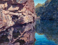 Paintings, Tim Saska (American, 1935-2006). Sedona Pool, 1985. Acrylic on canvas. 51-1/2 x 65 inches (130.8 x 165.1 cm). Signed and...