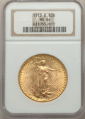 1913-D $20 MS64 NGC. NGC Census: (870/155). PCGS Population: (1568/411). CDN: $1,900 Whsle. Bid for problem-free NGC/PCG...