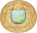 Estate Jewelry:Lots, Opal, Diamond, Platinum, Gold Convertible Belt Buckle. ...
