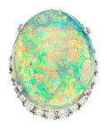 Estate Jewelry:Rings, Opal, Diamond, Platinum Ring . ...