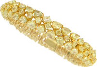 Fancy to Fancy Intense Yellow Diamond, Colored Diamond, Gold Bracelet, Hana