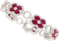 Estate Jewelry:Bracelets, Ruby, Diamond, White Gold Bracelet . ...