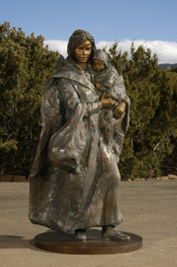 Glenna Goodacre (American, b. 1939) Crossing the Prairie, 2001 Bronze with brown patina 72 inches