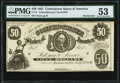 Confederate Notes:1861 Issues, CT8/16 $50 1861 Contemporary Counterfeit PMG About Uncirculated53.. ...