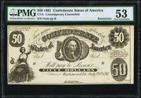 CT8/16 $50 1861 Contemporary Counterfeit PMG About Uncirculated 53