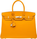 Luxury Accessories:Bags, Hermès Limited Edition 35cm Jaune D'Or & Potiron Epsom Leather Candy Birkin Bag with Permabrass Hardware. R Square, 2014...