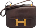 """Luxury Accessories:Bags, Hermès 23cm Cafe Niloticus Lizard Constance Bag with Gold Hardware. M Circle, 1983. Condition: 4. 9"""" Width x 7"""" He..."""