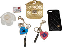 Chanel Set of 6: Gold Ankle Bag, iPhone 7/8 Case, Keychains, Pin & Camellia Brooch Condition: 1 S