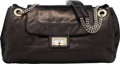 """Luxury Accessories:Bags, Chanel Black Metallic Calfskin Leather Perforated Accordion Drill Flap Bag with Silver Hardware. Condition: 2. 15"""" Wid..."""