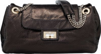 Chanel Black Metallic Calfskin Leather perforated Accordion Drill Flap Bag with Silver Hardware Condition: 2