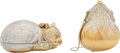 Luxury Accessories:Bags, Judith Leiber Set of Two: Gold & Silver Crystal Cat & Chatelaine Minaudieres. Condition: 2. See Extended Condition Rep... (Total: 2 Items)