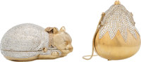 Judith Leiber Set of Two: Gold & Silver Crystal Cat & Chatelaine Minaudieres Condition: 2 See Extended C...