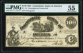 Confederate Notes:1861 Issues, CT13/57A-1 $100 1861 Contemporary Counterfeit PMG About Uncirculated 55.. ...