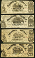 Confederate Notes:1861 Issues, T18 $20 1861 Four Examples Fine or Better.. ... (Total: 4 notes)