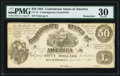 Confederate Notes:1861 Issues, CT14/59C $50 1861 Contemporary Counterfeit PMG Very Fine 30 Remainder.. ...