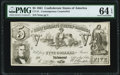 CT37/284A $5 1861 Contemporary Counterfeit PMG Choice Uncirculated 64 EPQ