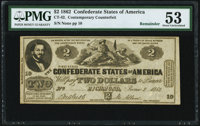 CT42/334 $2 1862 Contemporary Counterfeit PMG About Uncirculated 53 Remainder